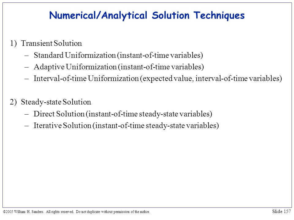 Numerical/Analytical Solution Techniques
