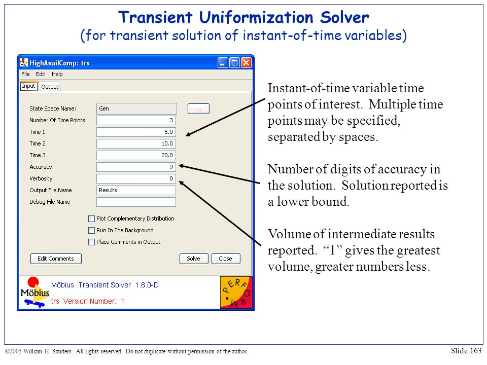 Transient Uniformization Solver (for transient solution of instant-of-time variables)