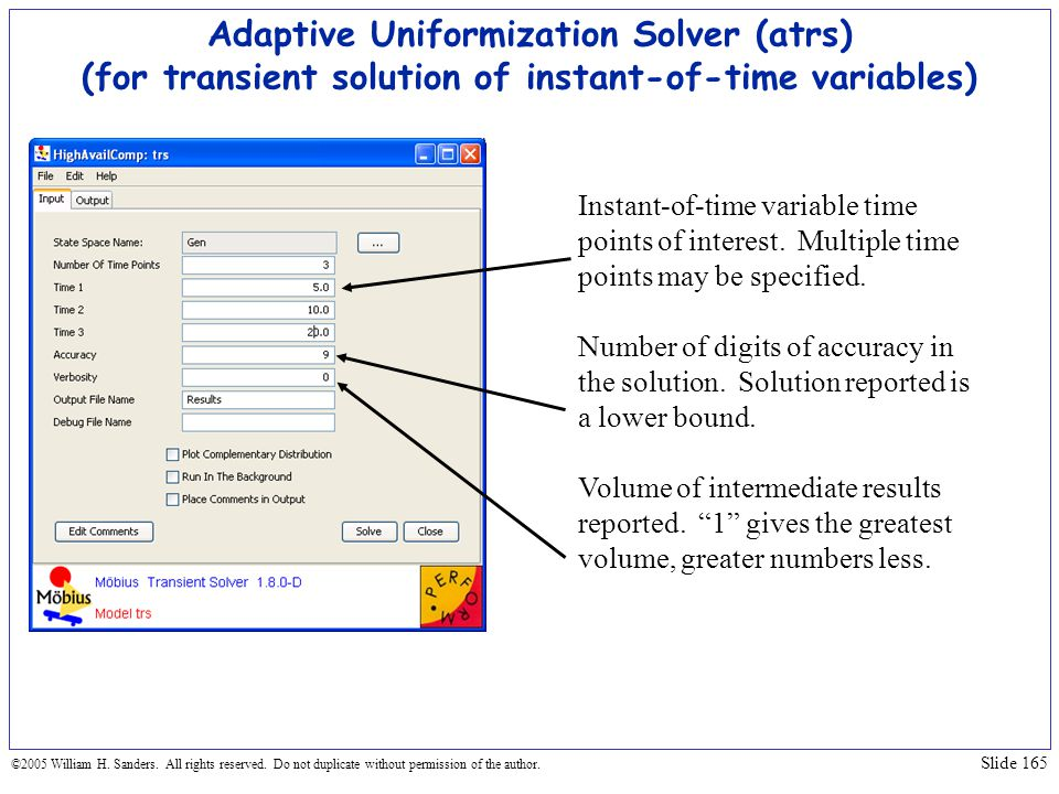 Adaptive Uniformization Solver (atrs) (for transient solution of instant-of-time variables)