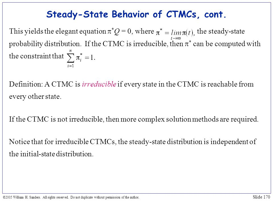 Steady-State Behavior of CTMCs, cont.