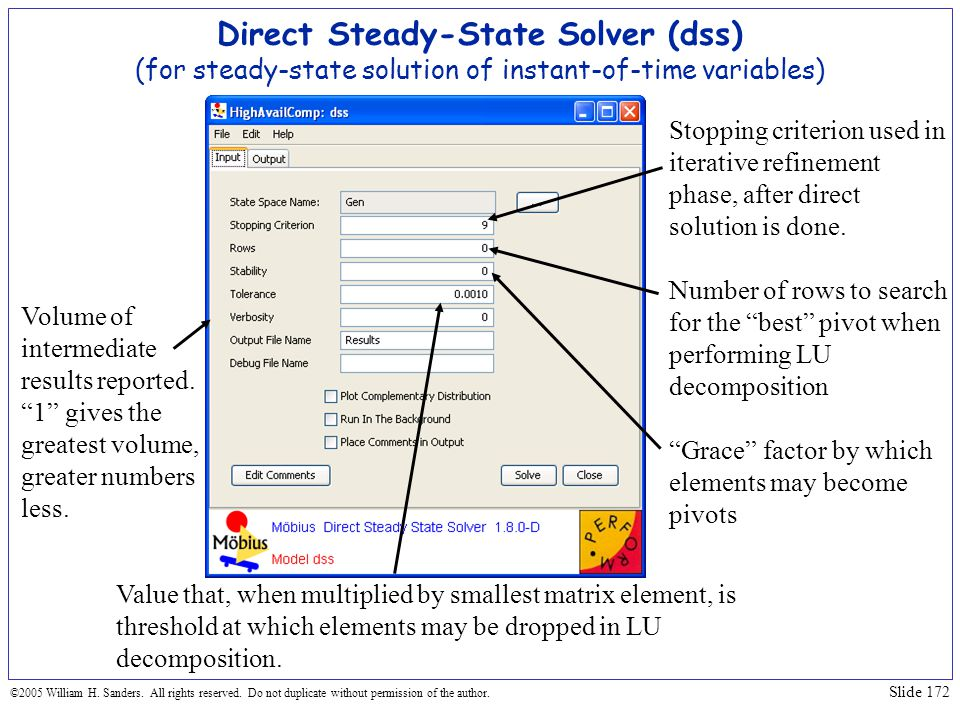 Direct Steady-State Solver (dss) (for steady-state solution of instant-of-time variables)