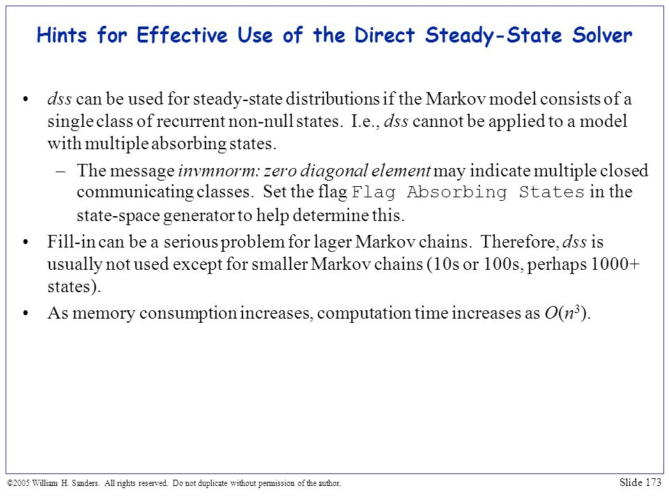 Hints for Effective Use of the Direct Steady-State Solver