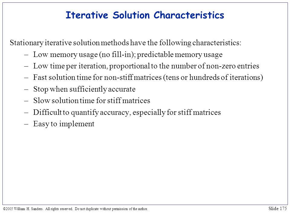 Iterative Solution Characteristics