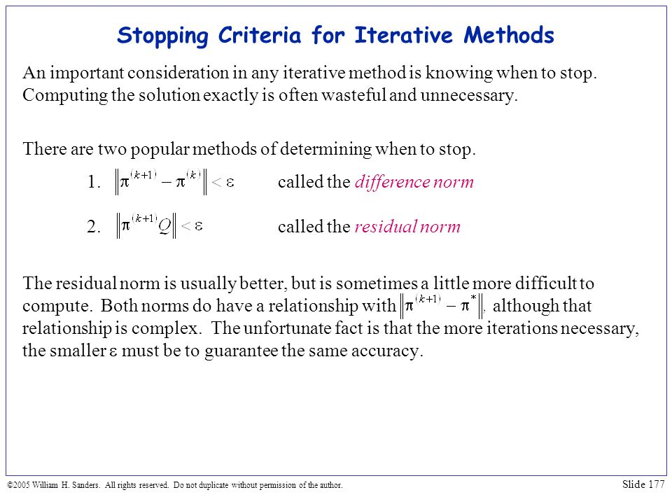 Stopping Criteria for Iterative Methods