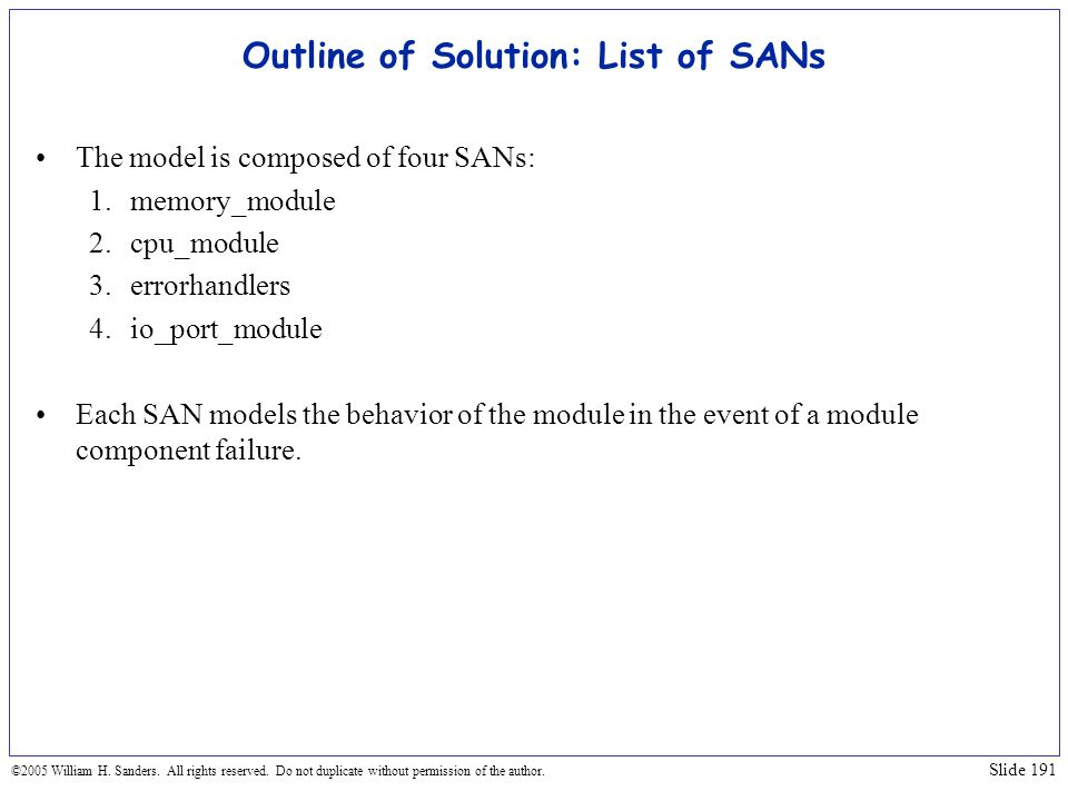 Outline of Solution: List of SANs