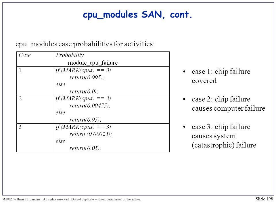 cpu_modules SAN, cont. cpu_modules case probabilities for activities: