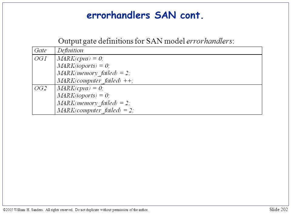 errorhandlers SAN cont.