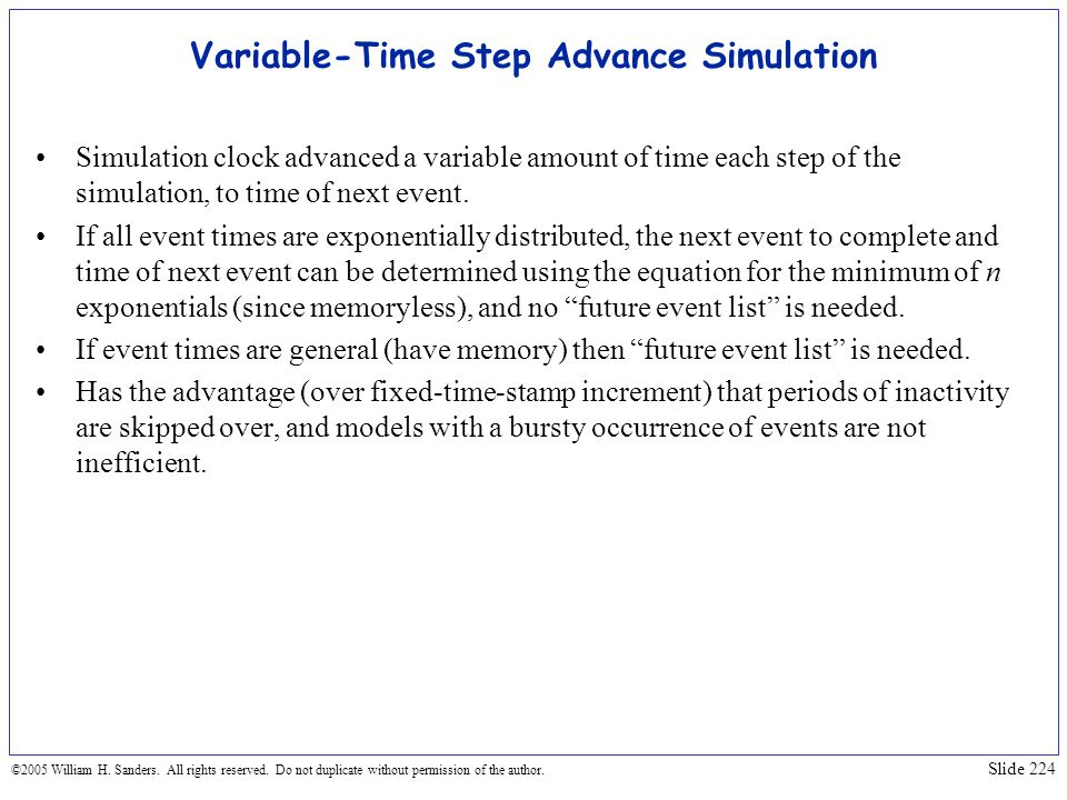 Variable-Time Step Advance Simulation