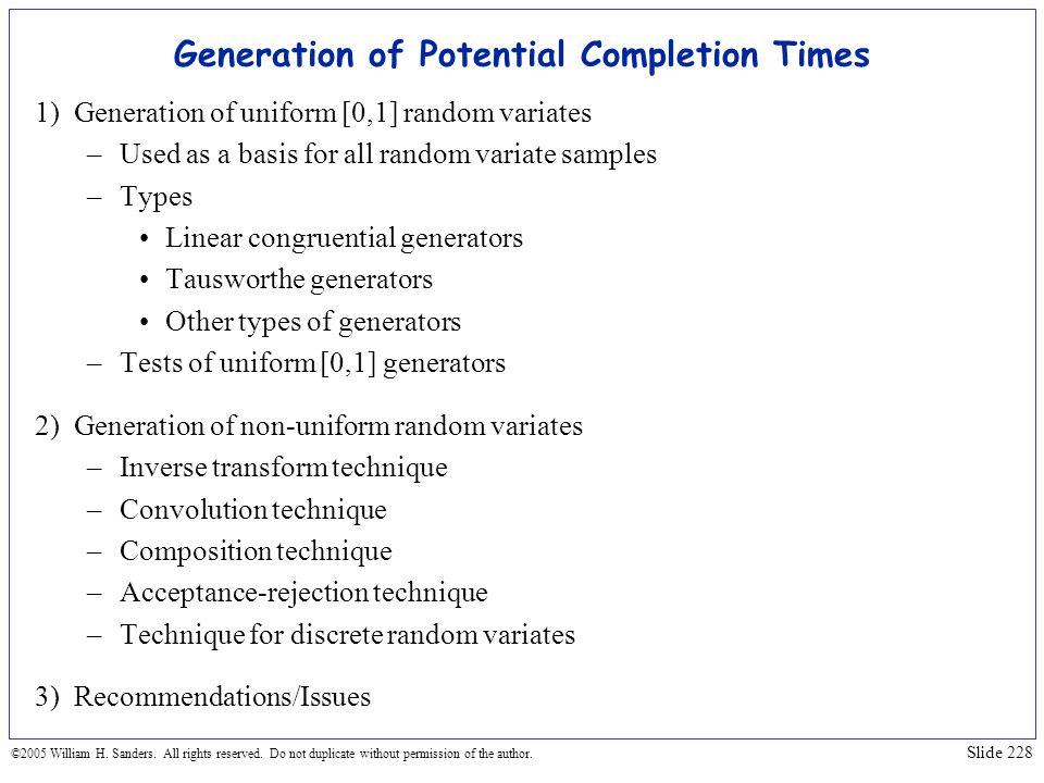 Generation of Potential Completion Times