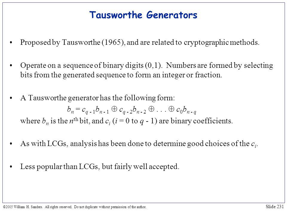 Tausworthe Generators