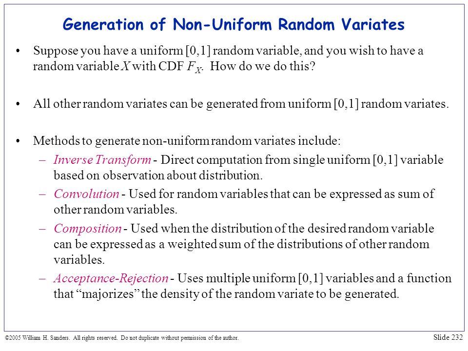 Generation of Non-Uniform Random Variates