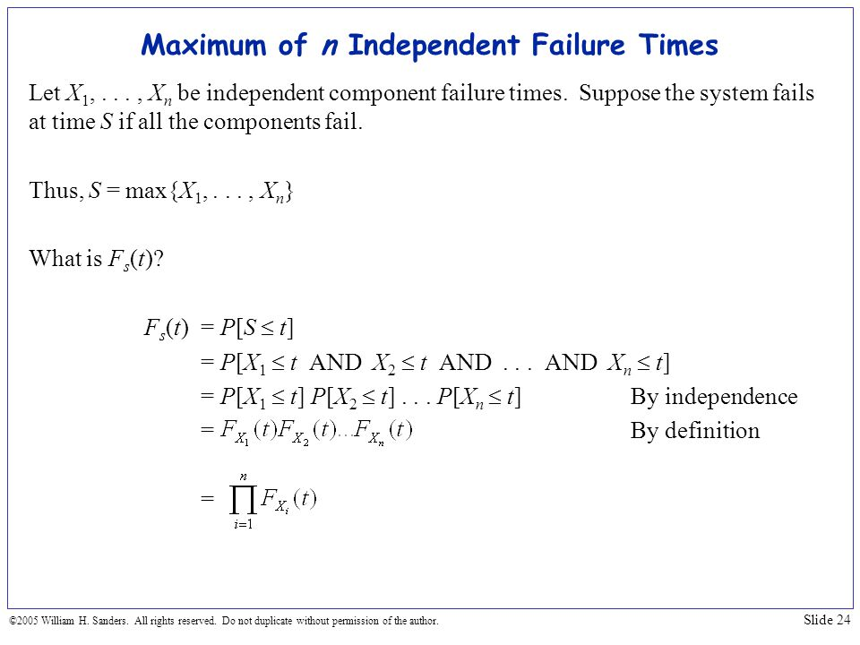 Maximum of n Independent Failure Times