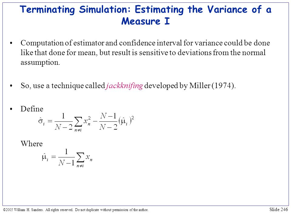 Terminating Simulation: Estimating the Variance of a Measure I