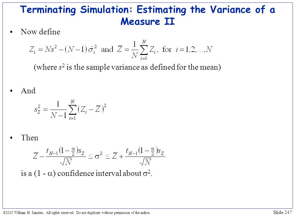 Terminating Simulation: Estimating the Variance of a Measure II