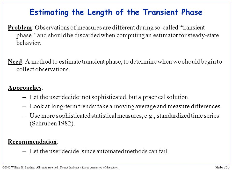 Estimating the Length of the Transient Phase