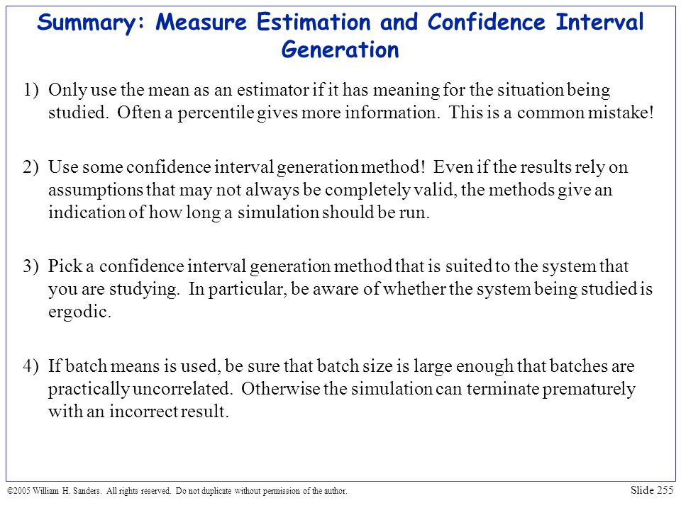 Summary: Measure Estimation and Confidence Interval Generation