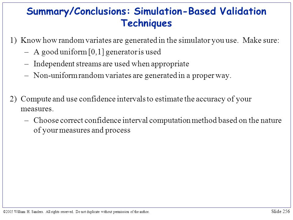 Summary/Conclusions: Simulation-Based Validation Techniques