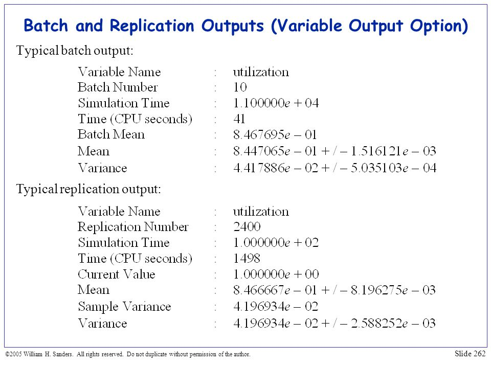 Batch and Replication Outputs (Variable Output Option)