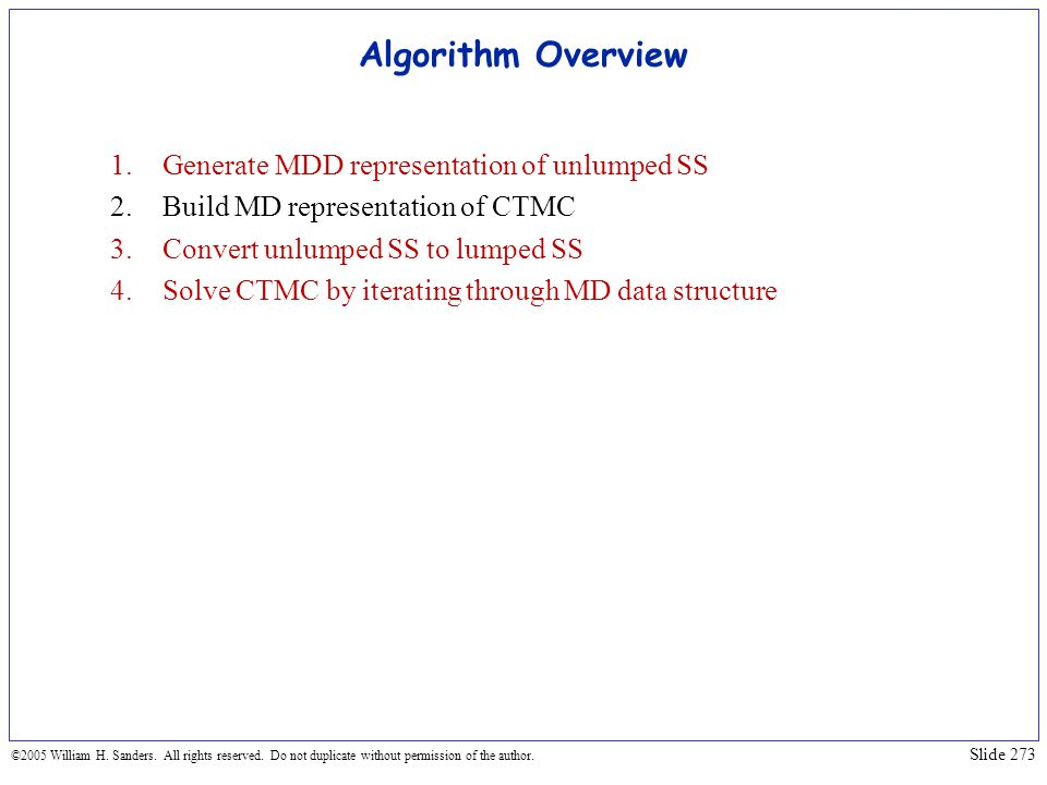 Algorithm Overview Generate MDD representation of unlumped SS