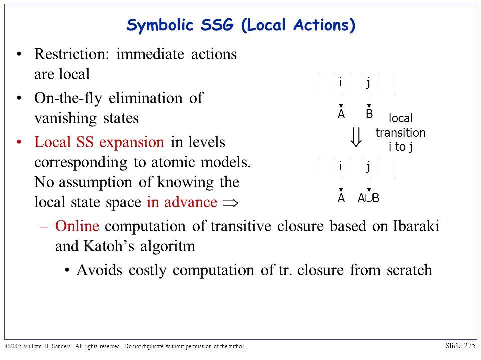 Symbolic SSG (Local Actions)
