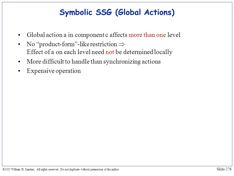 Symbolic SSG (Global Actions)
