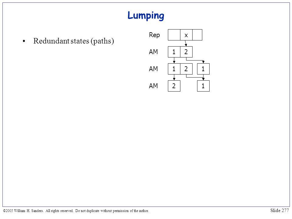 Lumping Redundant states (paths) 1 2 x Rep AM