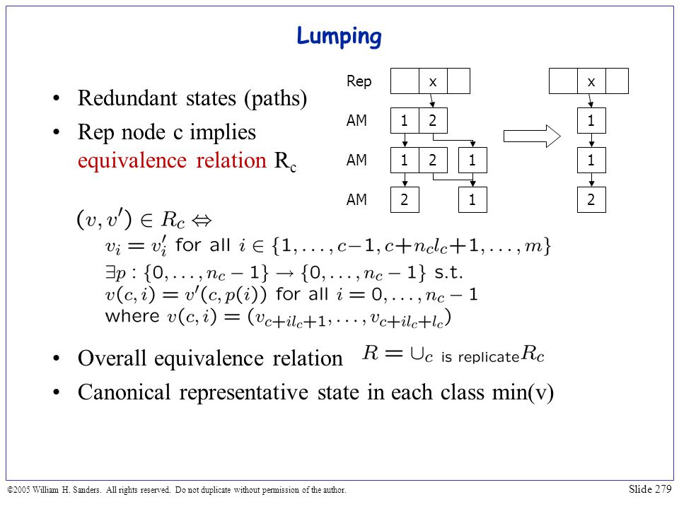 Redundant states (paths) Rep node c implies equivalence relation Rc