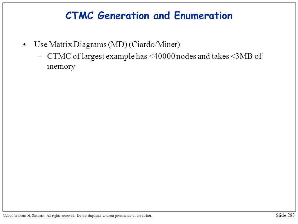 CTMC Generation and Enumeration