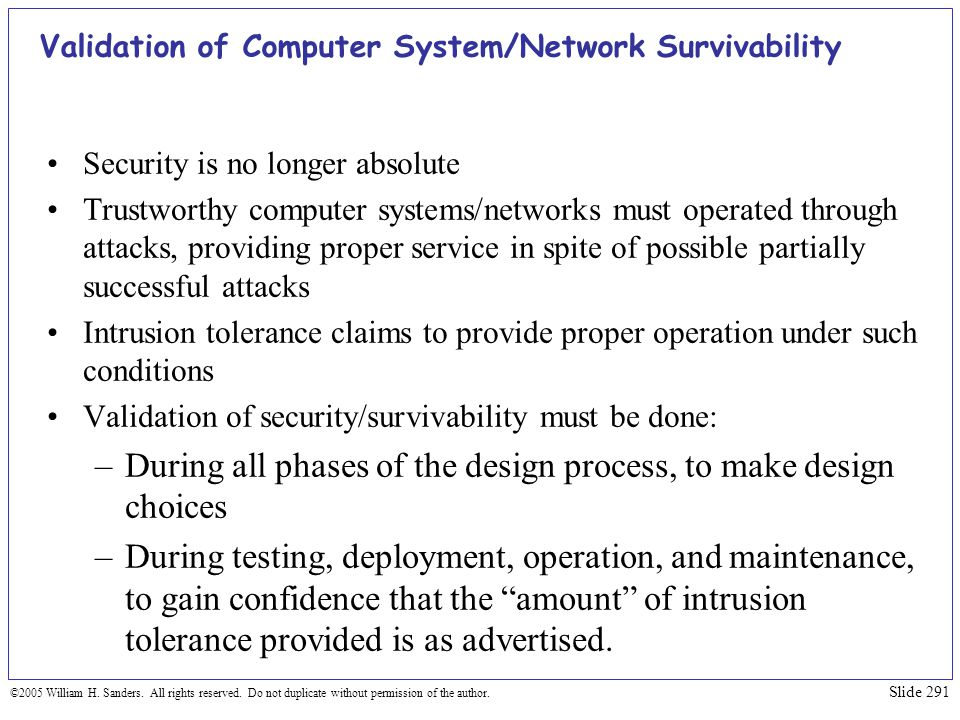 Validation of Computer System/Network Survivability