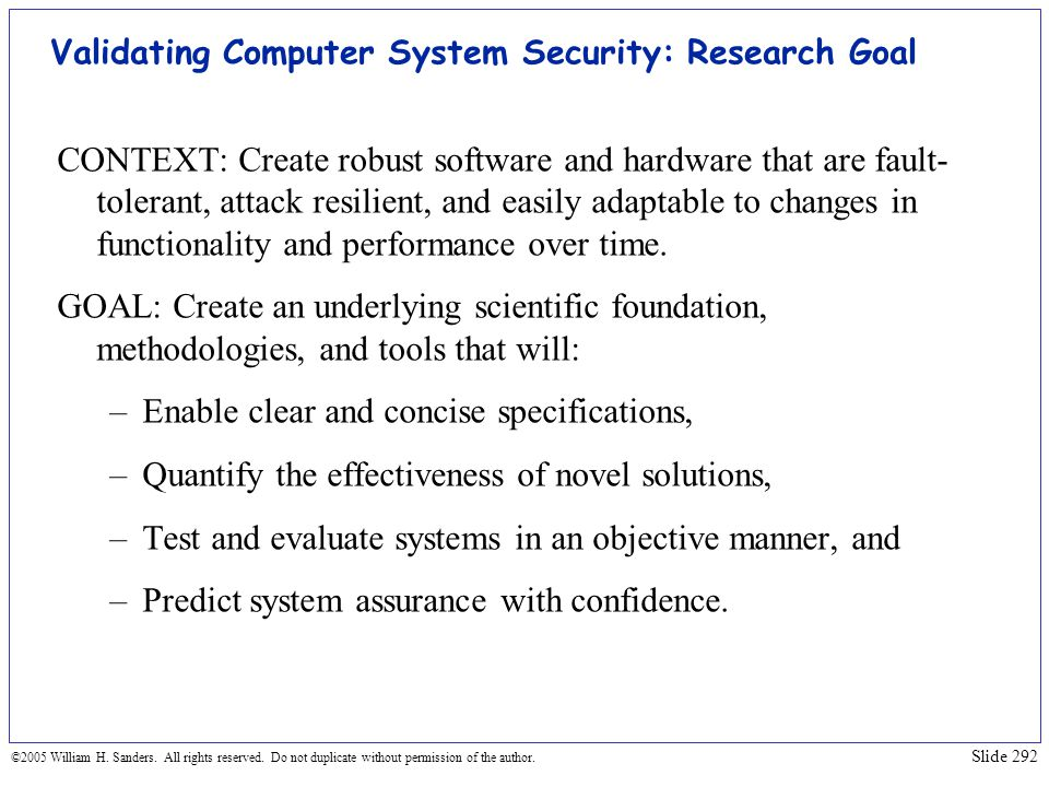 Validating Computer System Security: Research Goal