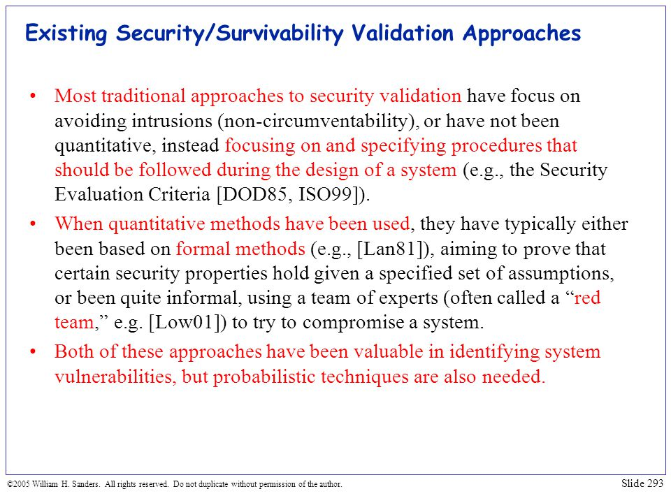 Existing Security/Survivability Validation Approaches