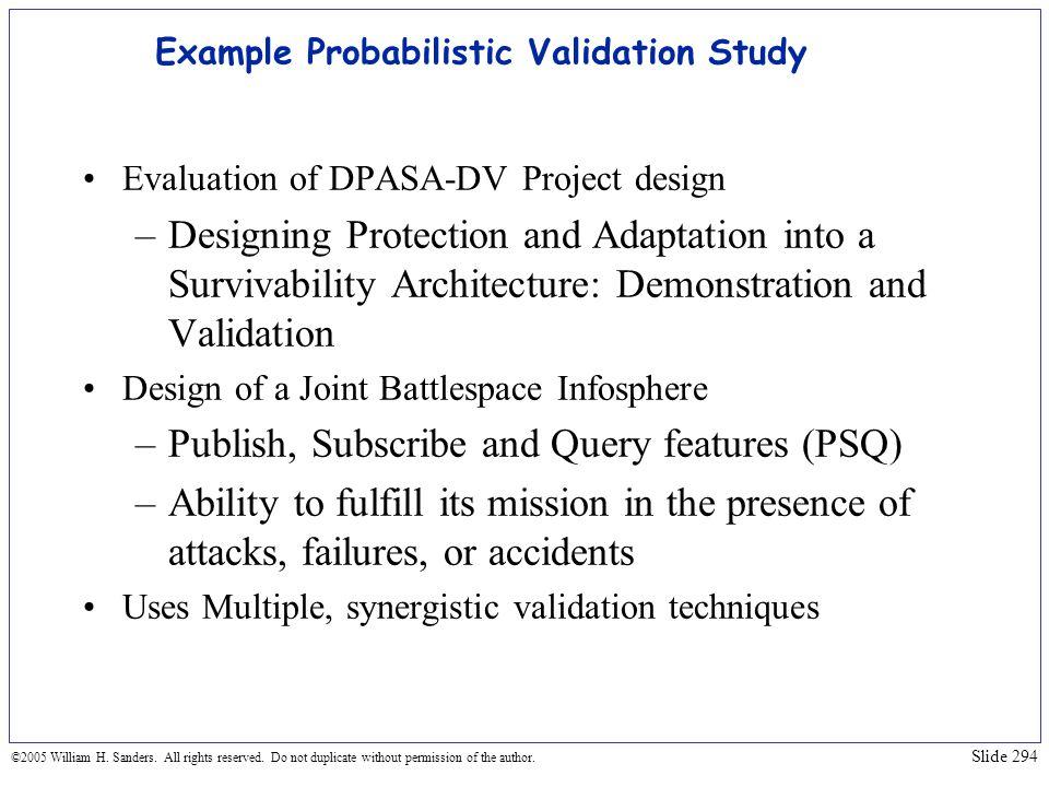Example Probabilistic Validation Study