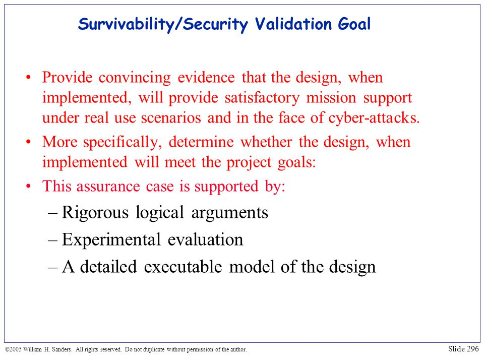 Survivability/Security Validation Goal