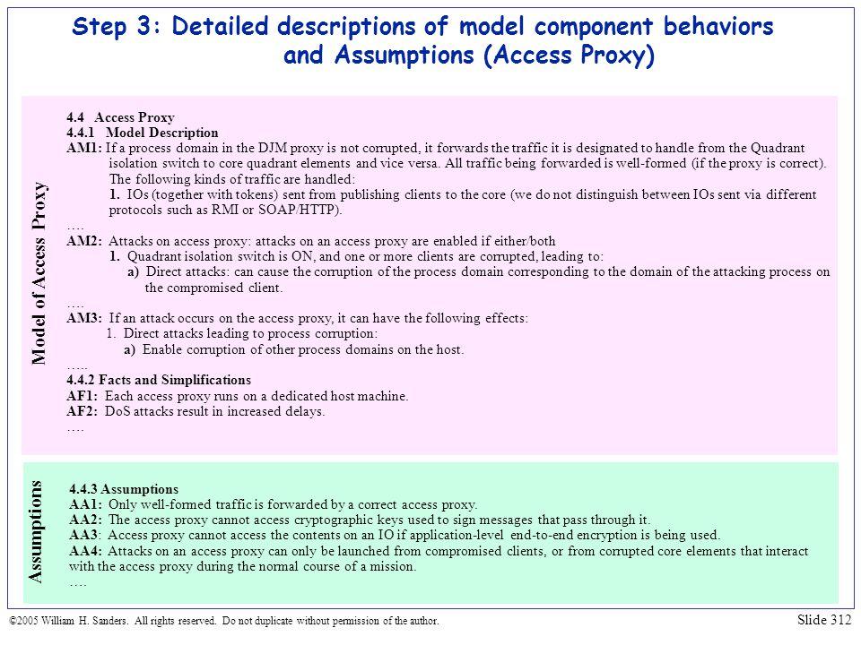 Step 3: Detailed descriptions of model component behaviors and Assumptions (Access Proxy)