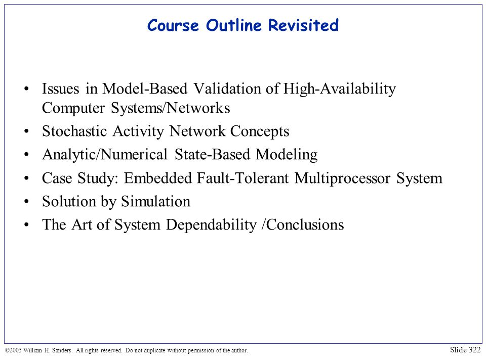 Course Outline Revisited