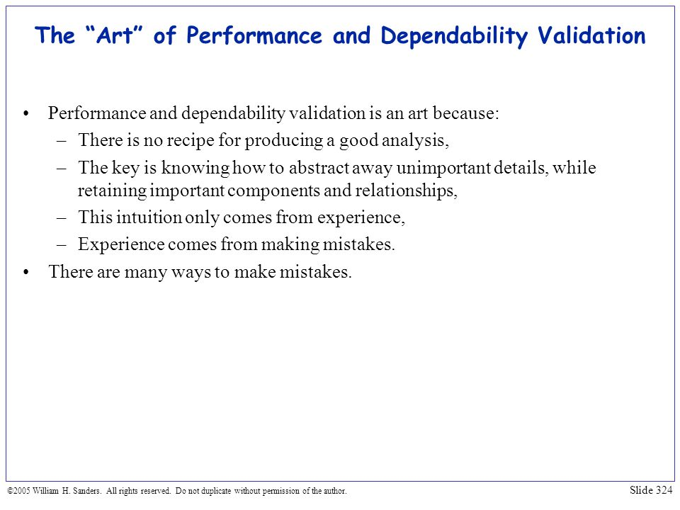 The Art of Performance and Dependability Validation