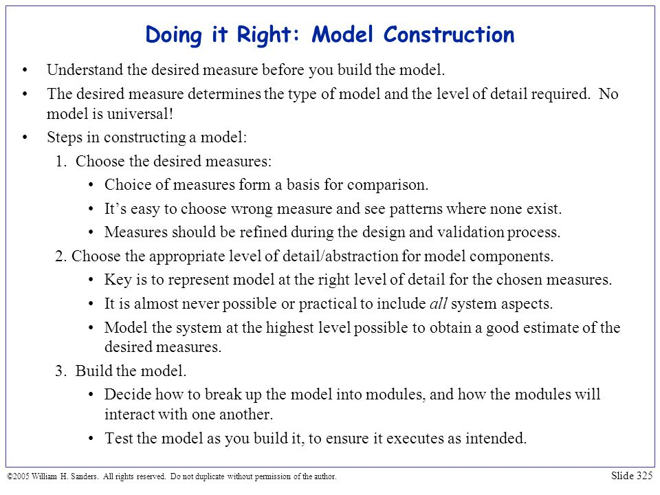 Doing it Right: Model Construction