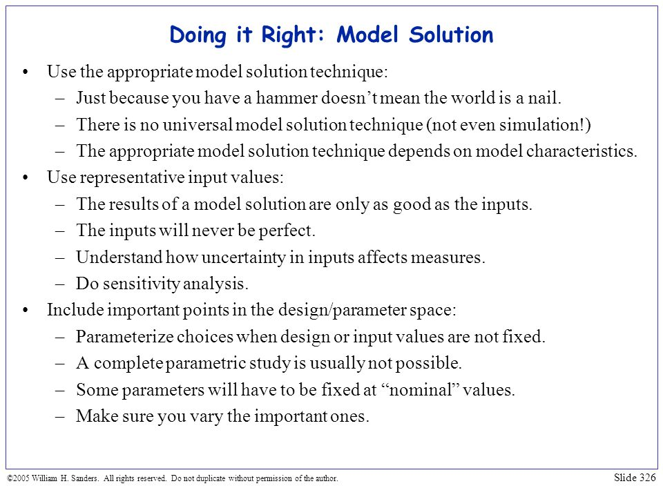 Doing it Right: Model Solution