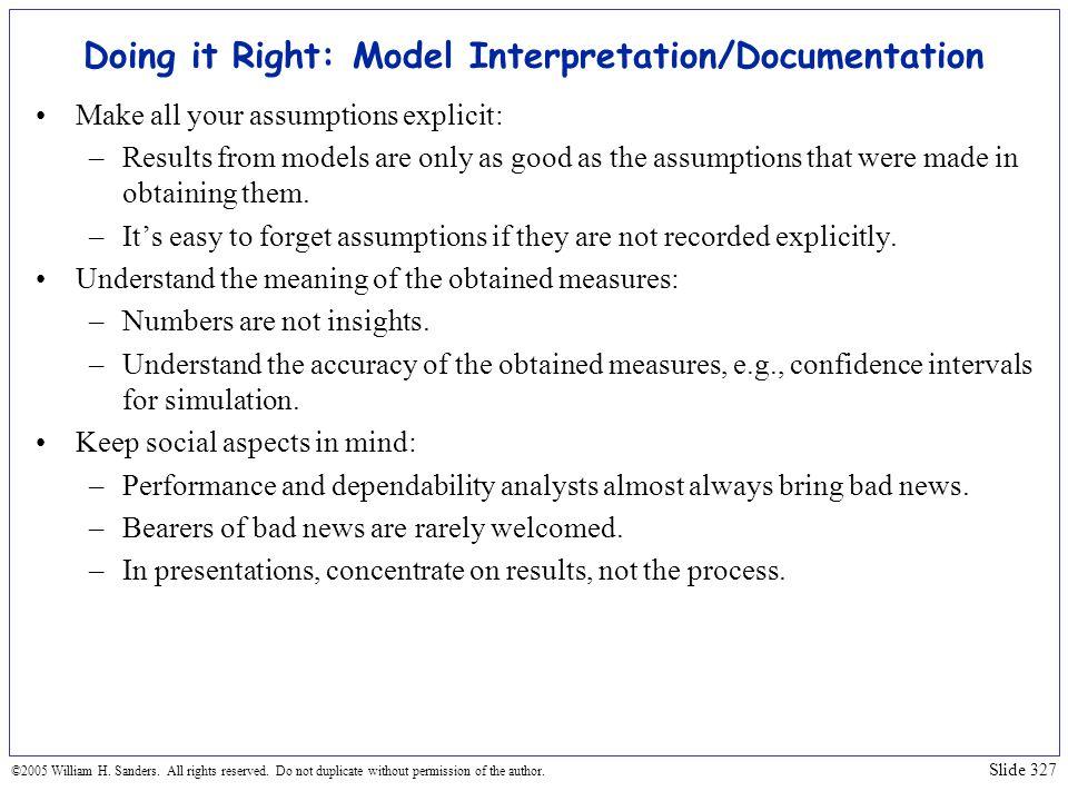 Doing it Right: Model Interpretation/Documentation