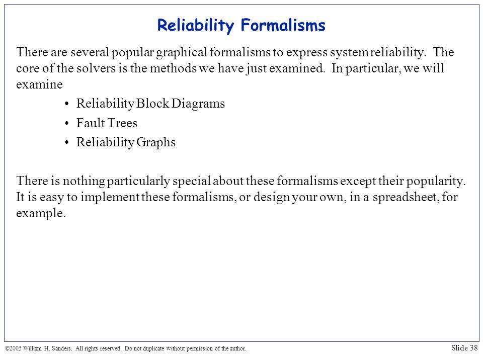 Reliability Formalisms
