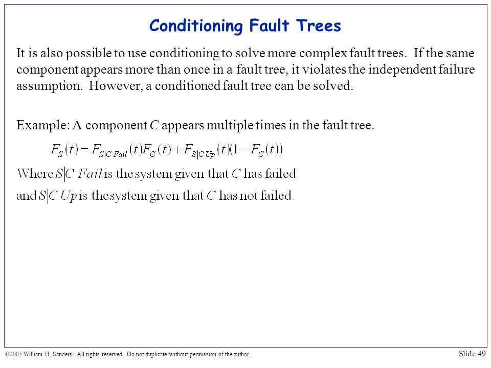 Conditioning Fault Trees