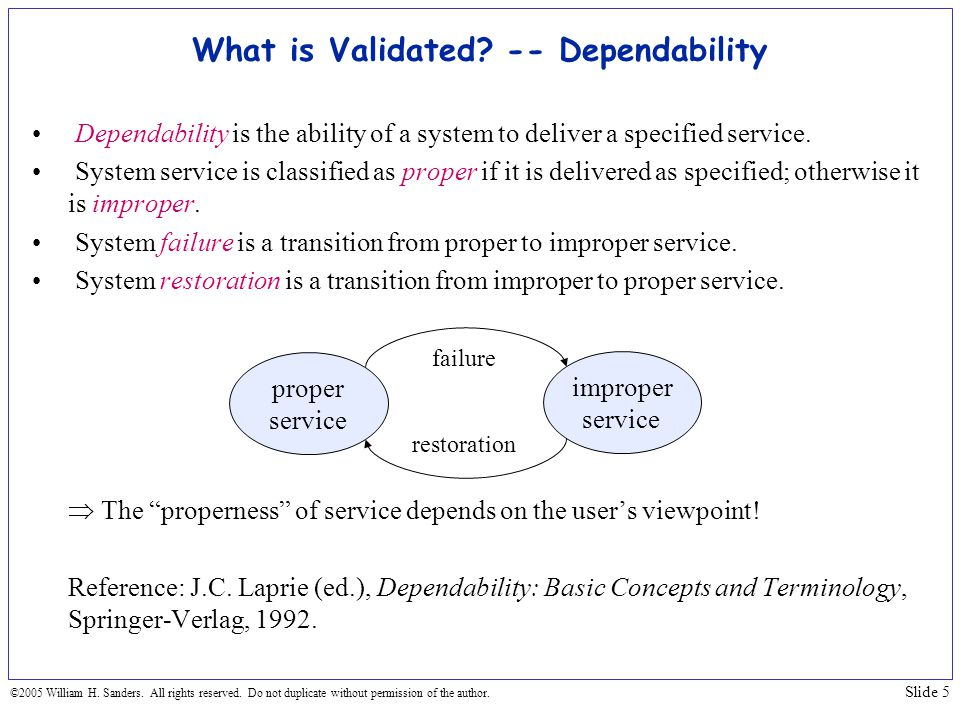 What is Validated -- Dependability