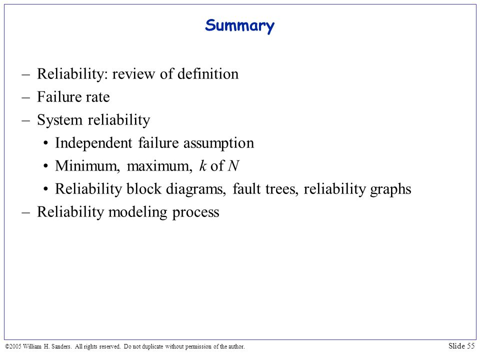 Reliability: review of definition Failure rate System reliability
