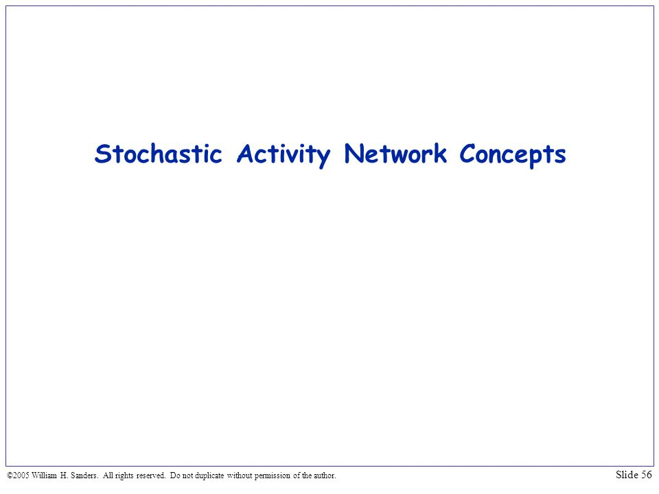 Stochastic Activity Network Concepts