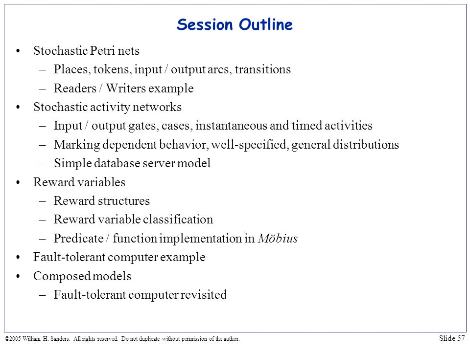 Session Outline Stochastic Petri nets