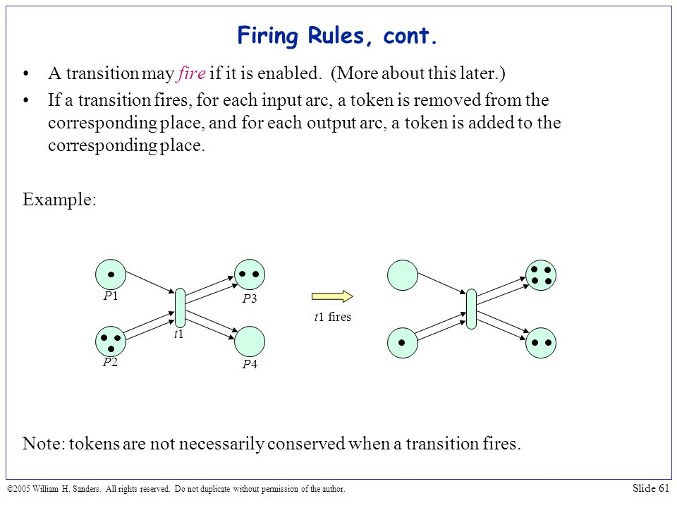 Firing Rules, cont. A transition may fire if it is enabled. (More about this later.)