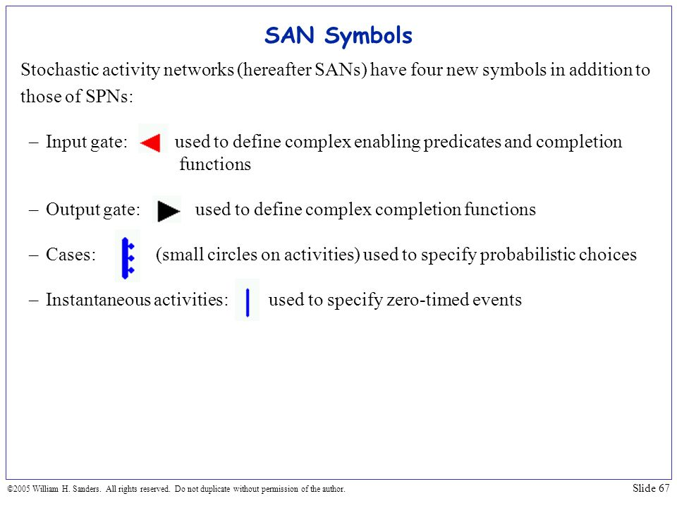 SAN Symbols Stochastic activity networks (hereafter SANs) have four new symbols in addition to. those of SPNs: