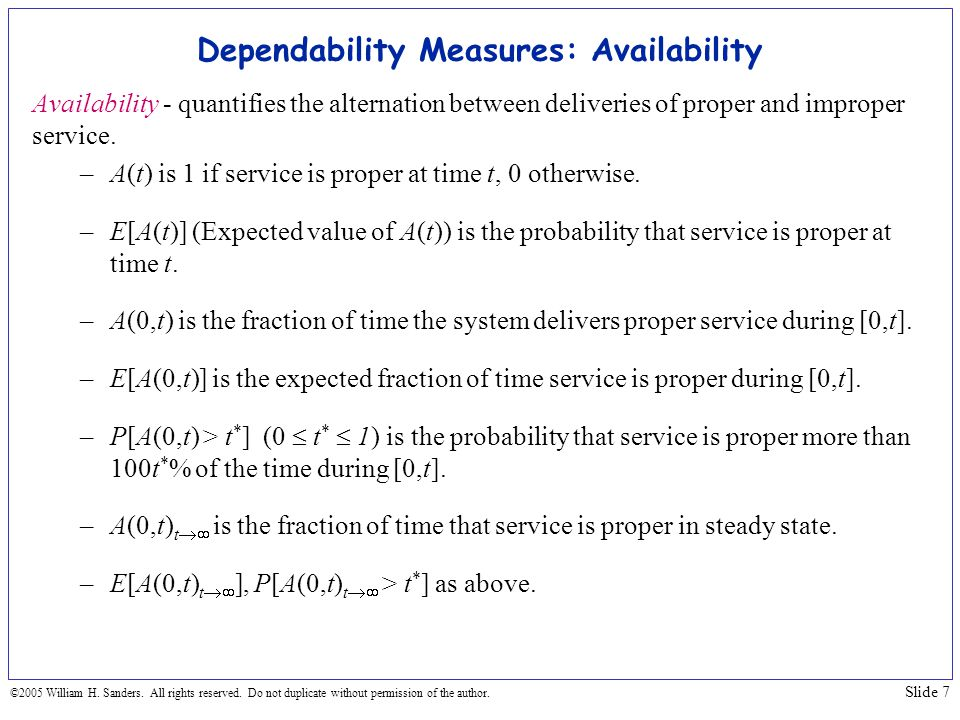 Dependability Measures: Availability