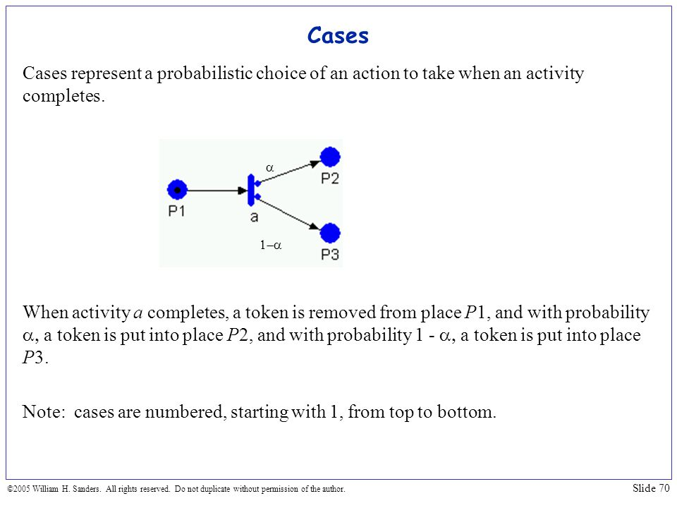 Cases Cases represent a probabilistic choice of an action to take when an activity completes.