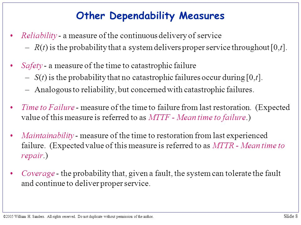 Other Dependability Measures